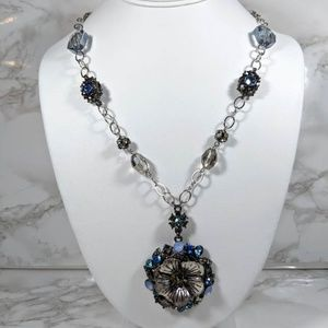 Loft Rhinestone Flower Necklace